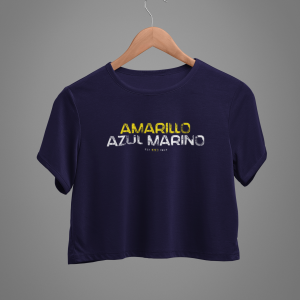 Amarillo Azul Marino Crop Top T-Shirt